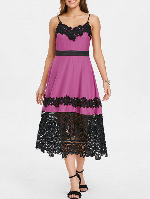 Lace Panel Swing Vintage Dress - ROSE RED S