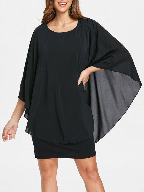 Round Neck Capelet Dress - BLACK M