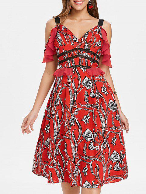 Floral Ruffle Cold Shoulder Midi Dress - CHESTNUT RED M