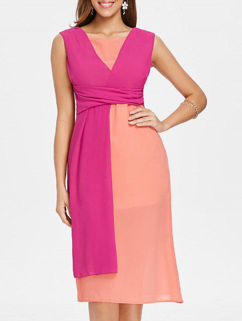 Color Block Sleeveless Chiffon Midi Dress - ROSE RED 2XL