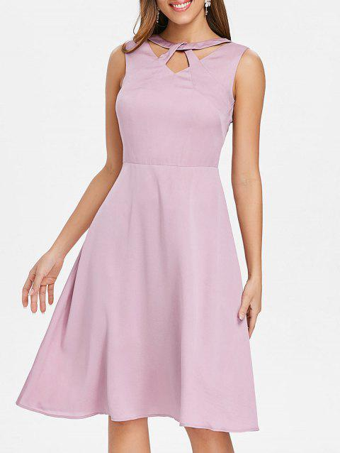Open Back Cutout Neck Skater Dress - LIGHT PINK L