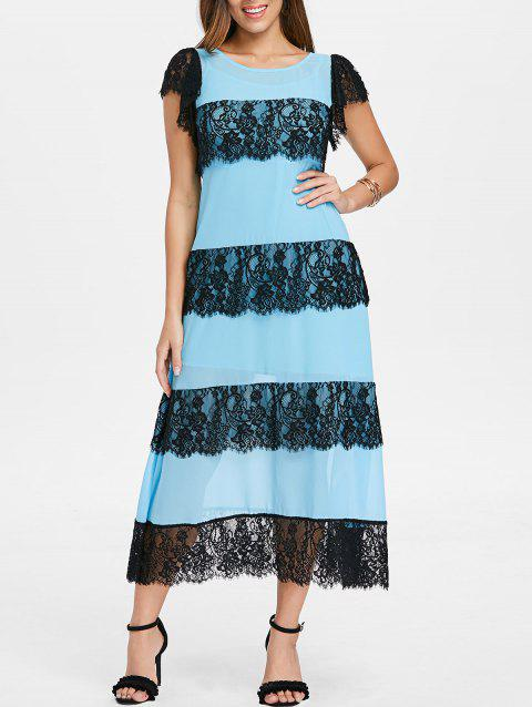 Lace Panel Layered Midi Dress with Slip Dress