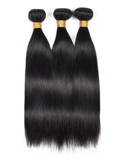 3Pcs Straight Indian Virgin Real Human Hair Weaves - BLACK 24INCH*24INCH*24INCH