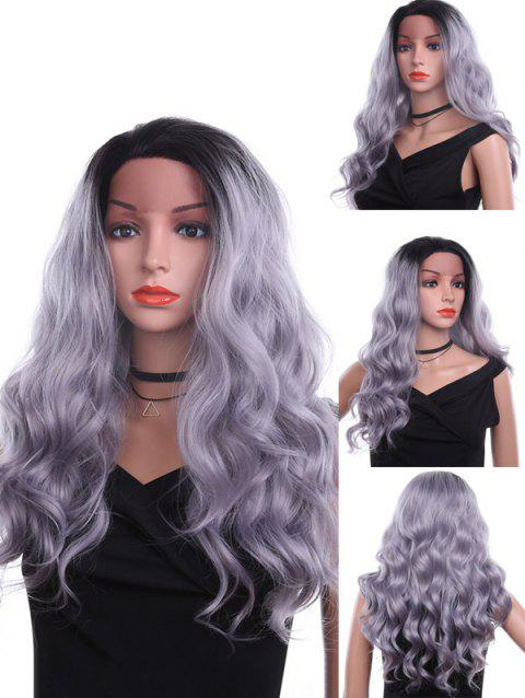 Free Part Long Wavy Heat Resistant Synthetic Lace Front Wig - PLATINUM 24INCH