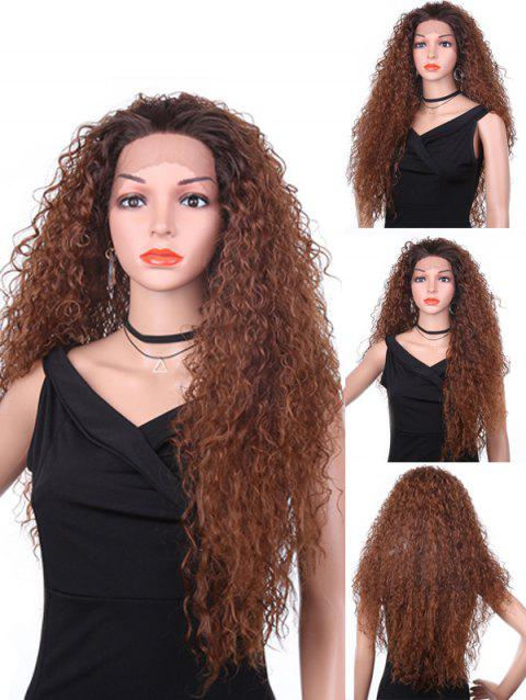 Free Part Fluffy Long Kinky Curly Lace Front Synthetic Wig - DEEP BROWN 28INCH