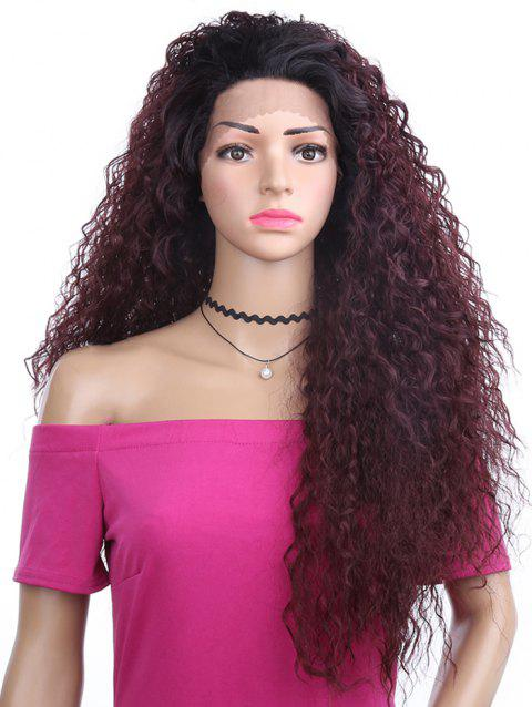 Free Part Fluffy Long Kinky Curly Lace Front Synthetic Wig - RED WINE 28INCH
