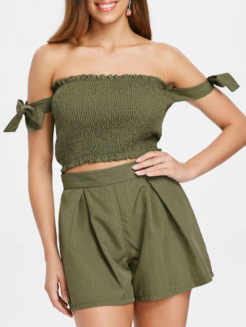 Strapless Crop Top and Elastic Waist Shorts - ARMY GREEN XL