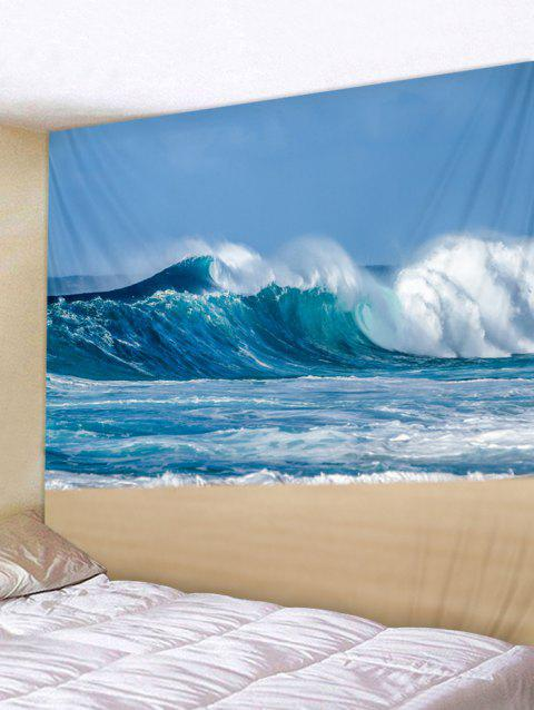 Sky Beach Print Wall Tapestry Hanging Decor - GLACIAL BLUE ICE W91 INCH * L71 INCH
