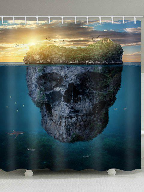 Skull Island Printed Waterproof Bath Curtain - multicolor W71 INCH * L79 INCH