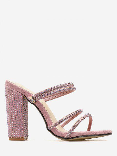 Rhinestone Strap High Heel Pumps - LIGHT PINK 37