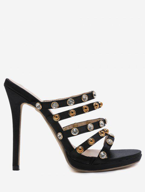Rhinestone Strap Suede High Heel Pumps - BLACK 39