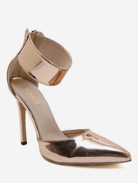 Pointed Toe Zip Back Stiletto Heel Pumps - GOLD 37