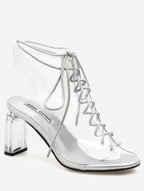 Block Heel Transparent Lace Up Hollow Out Sandals - WHITE 39