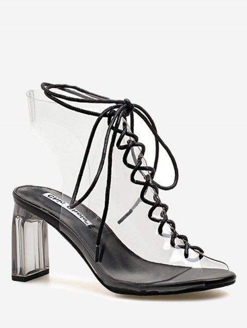 Block Heel Transparent Lace Up Hollow Out Sandals - BLACK 36
