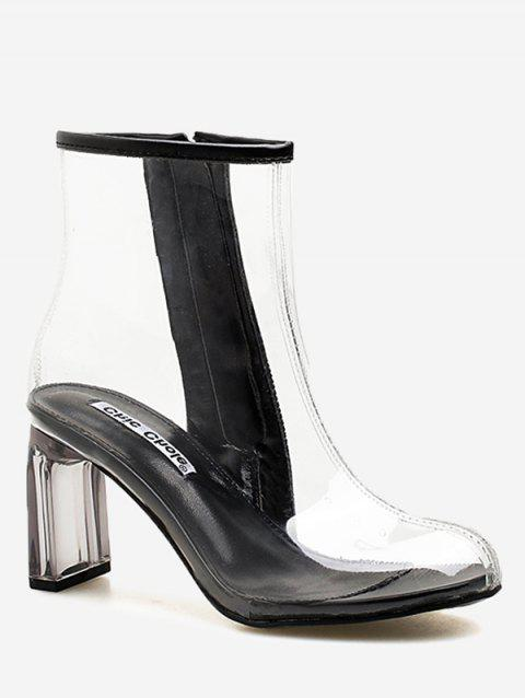 Chic High Heel Clear PVC Ankle Boots - BLACK 37