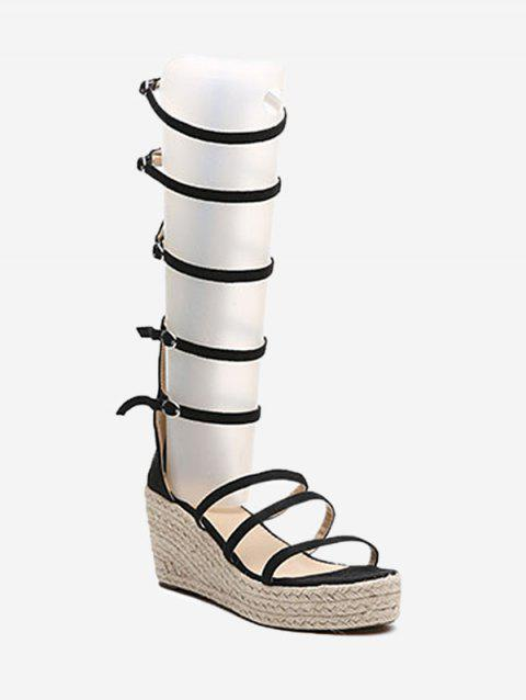 Espadrille Wedge Heel Strappy Buckles Sandals - BLACK 36