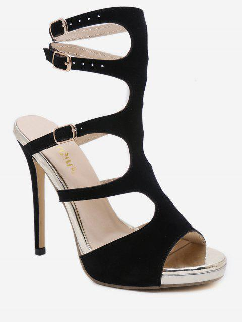 Stiletto Heel Chic Buckles Wedding Sandals - BLACK 38
