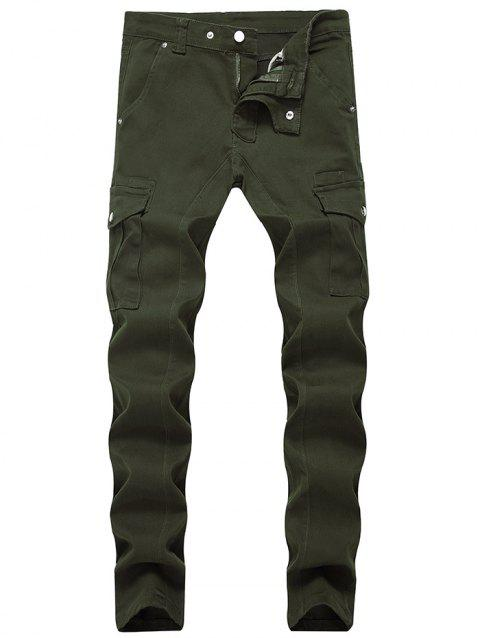 Fit Zip Fly Pockets Jeans - ARMY GREEN 36
