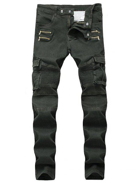Multi-pocket Stretchy Zippers Biker Jeans - ARMY GREEN 38