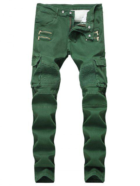 Multi-pocket Stretchy Zippers Biker Jeans - SEAWEED GREEN 36