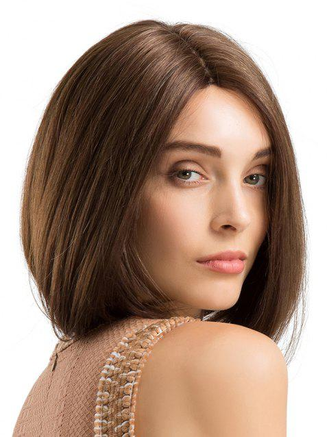 Short Length Straight Bob Capless Human Hair Wig - BROWN