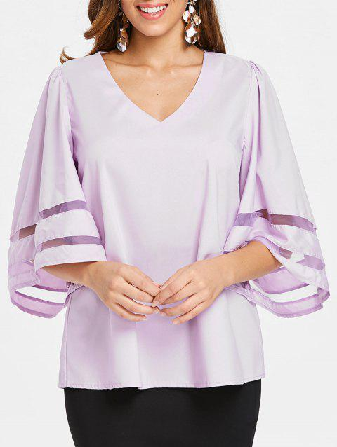V Neck Plain Blouse - MAUVE 2XL