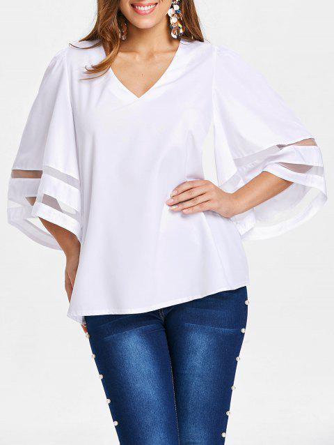 V Neck Plain Blouse - WHITE 2XL