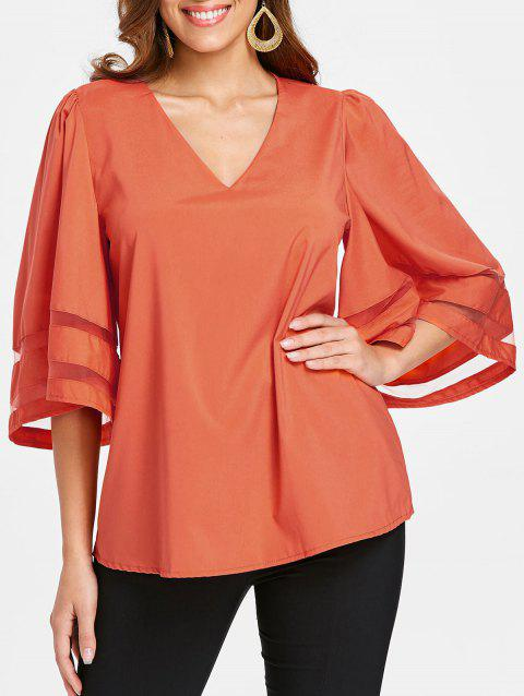 V Neck Plain Blouse - ORANGE M