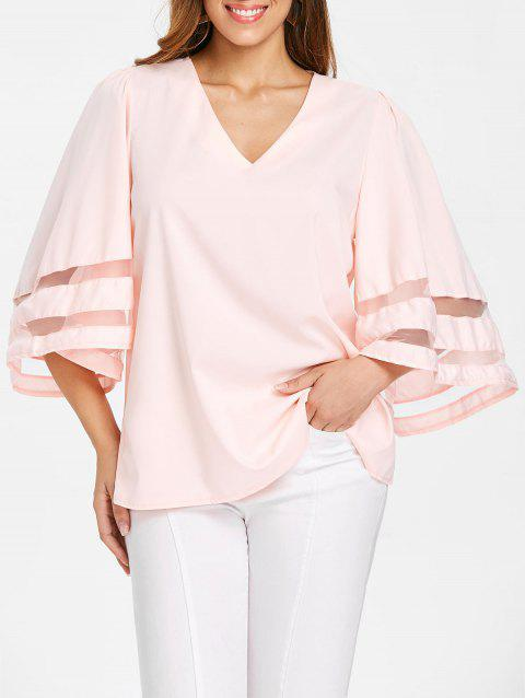 V Neck Plain Blouse - LIGHT PINK M