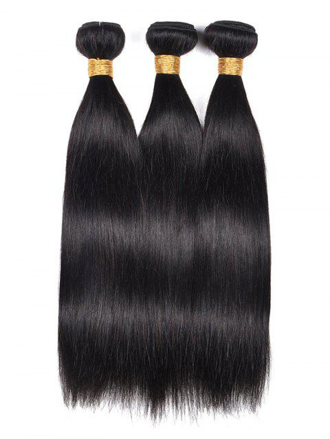 3Pcs Indian Real Human Hair Straight Hair Weaves - BLACK 20INCH*20INCH*20INCH