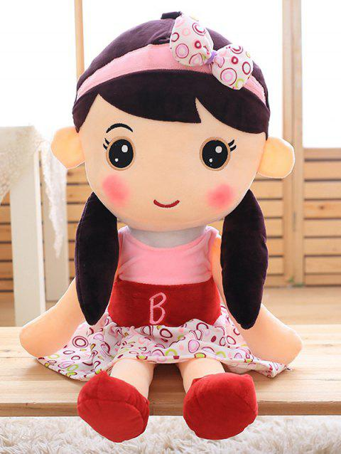 Big Eyes Bowknot Skirt Girl Shaped Plush Toy - PINK