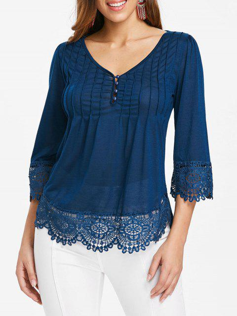 Cutwork Lace V Neck Top - BLUE JAY S