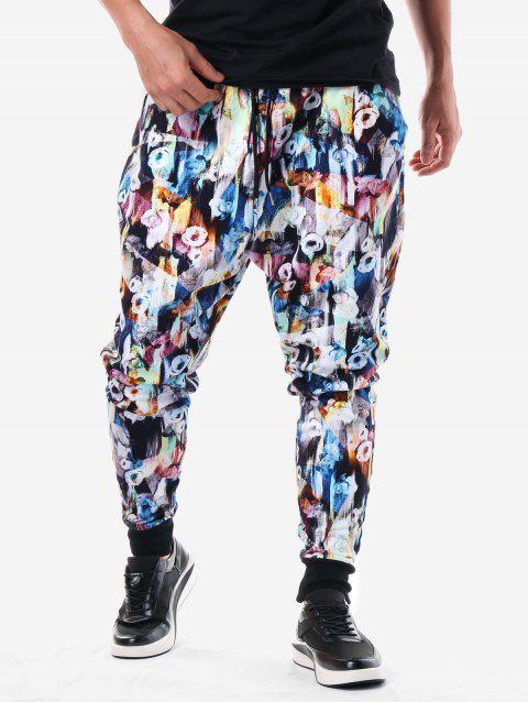 Drawstring Waist Allover Flower Pants Pants - multicolor XL