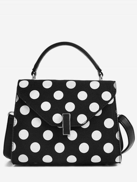 Vintage Polka Dot Flapped Envelope Handbag - BLACK