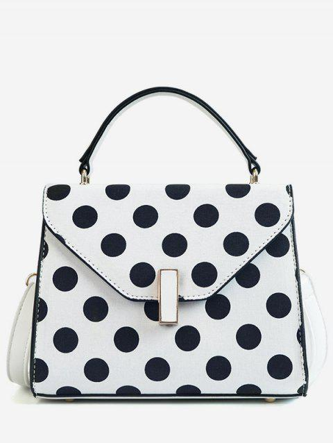 Vintage Polka Dot Flapped Envelope Handbag - WHITE
