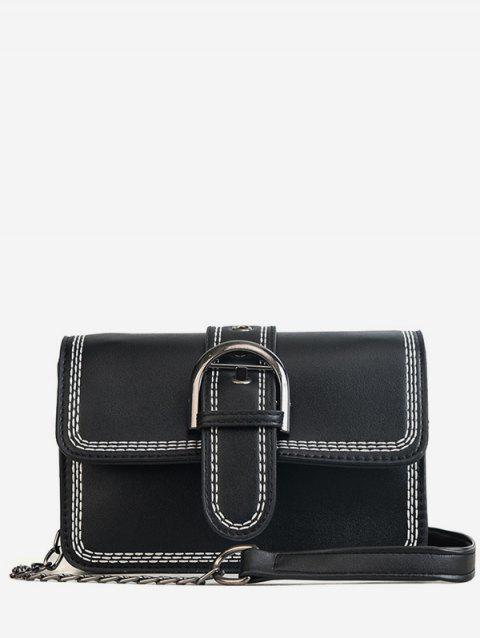 Color Block Flapped Buckled Chic Crossbody Bag - BLACK