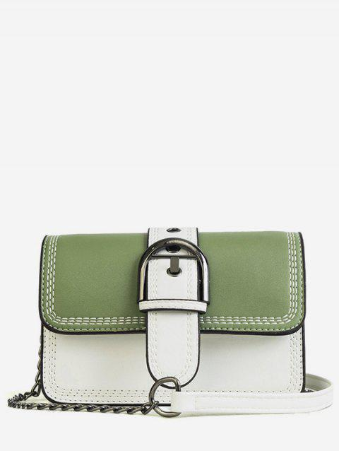 Color Block Flapped Buckled Chic Crossbody Bag - GREEN