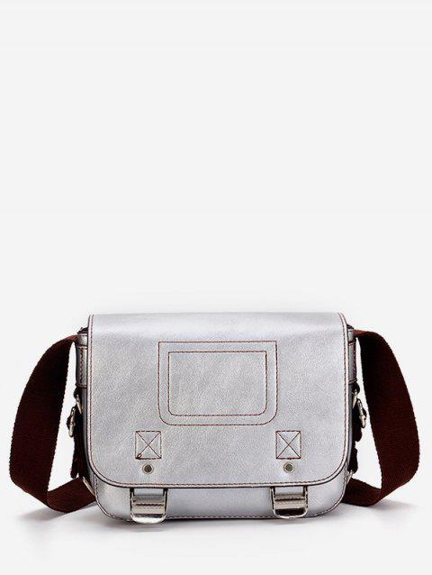 Flapped PU Leather Metal Minimalist Crossbody Bag - SILVER