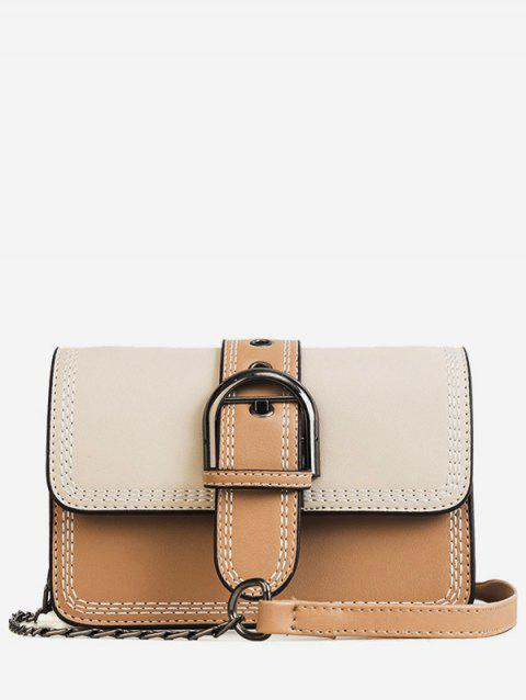 Color Block Flapped Buckled Chic Crossbody Bag - BEIGE