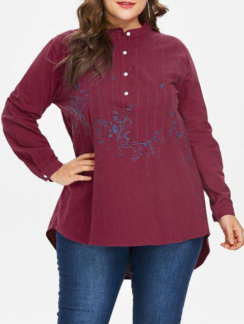 Plus Size Embroidery Dip Hem Blouse - RED 2X