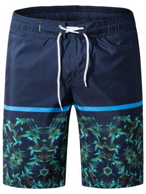 Panel Leaves Print Drawstring Bermuda Shorts - CADETBLUE XL