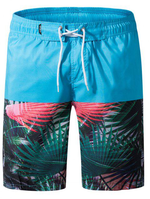 Panel Leaves Print Drawstring Beach Shorts - MACAW BLUE GREEN 2XL