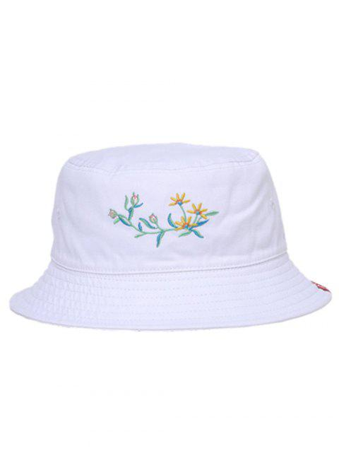 Stylish Floral Embroidery Fisherman Hat - WHITE