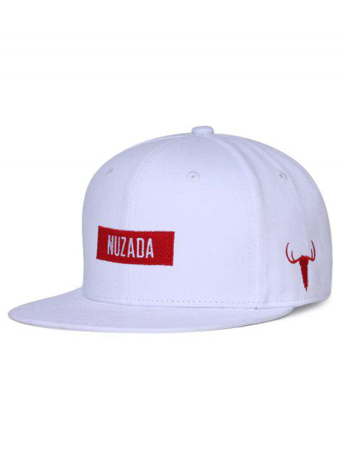 NUZADA Bull Embroidery Adjustable Trucker Hat - WHITE