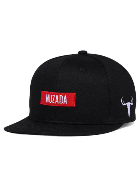NUZADA Bull Embroidery Adjustable Trucker Hat - BLACK