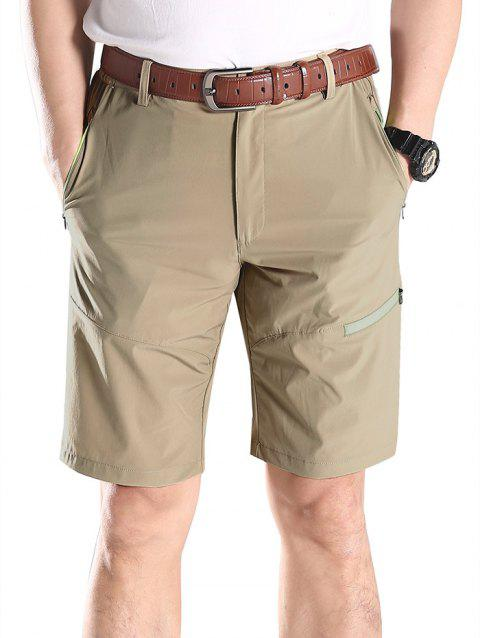 Zip Fly Contrast Color Sportive Shorts - LIGHT KHAKI M