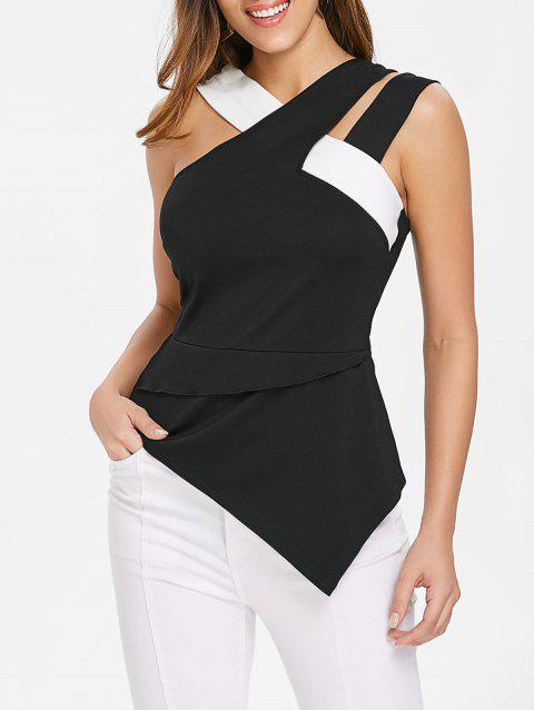 Asymmetrical Cutout Tank Top - BLACK XL