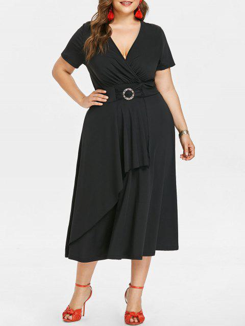 Short Sleeve Plus Size Asymmetrical Dress - BLACK 4X