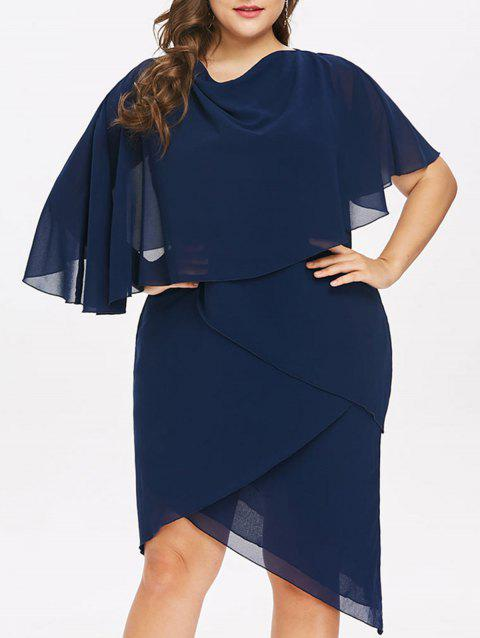 Plus Size Cowl Neck Capelet Dress - CADETBLUE L
