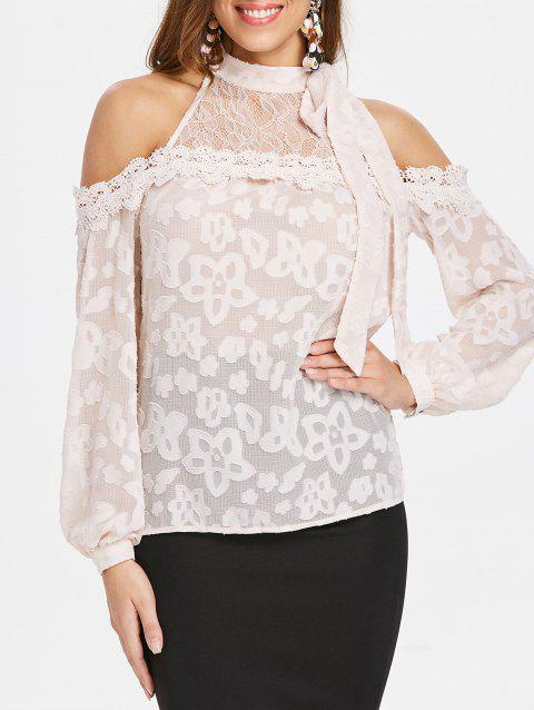 Shoulder Cut Tie Collar Long Sleeve Blouse - PINK BUBBLEGUM 2XL